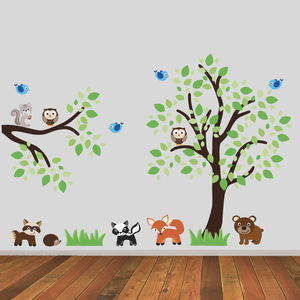 Tree And Branch With Woodland Animals Wall Sticker - home accessories