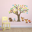 Autumn Tree With Woodland Animals Wall Sticker