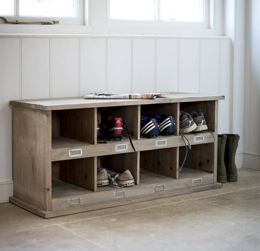 A Japanese Inspired Apartment With Plenty Storage Systems: Vintage Style Wooden Shoe Locker By Garden Selections