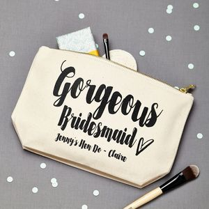 Personalised 'Gorgeous Bridesmaid' Make Up Pouch - wedding thank you gifts
