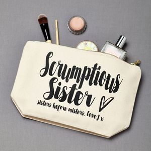 Personalised 'Scrumptious Sister' Make Up Pouch - make-up bags