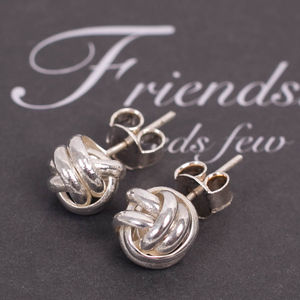 Friendship Knot Sterling Silver Earrings - earrings