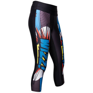 Ladies Three/Four Capri Tights With Pop Art Print - activewear