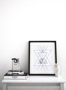 Modern, Scandi, Geometric Framed Art Print 'Fractal' - less ordinary wall art