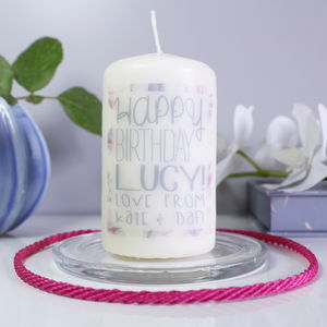 Personalised 'Happy Birthday' Patterned Candle - candles & candlesticks