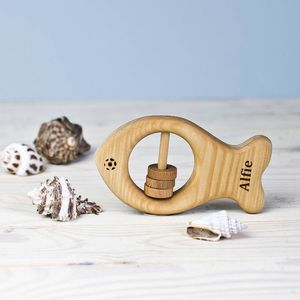 Personalised Organic Fish Rattle - baby toys