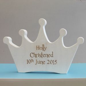 Personalised Christening White Wooden Crown Keepsake - keepsakes