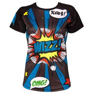 Ladies Short Sleeve Running Top With Pop Art Print - activewear