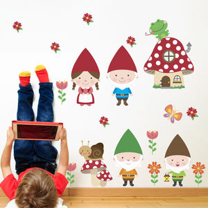 Gnome Family Woodland Fabric Wall Stickers - wall stickers