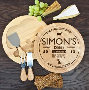 Personalised Wooden Cheeseboard Set