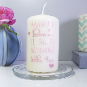 Personalised 'Born' Baby Girl Candle