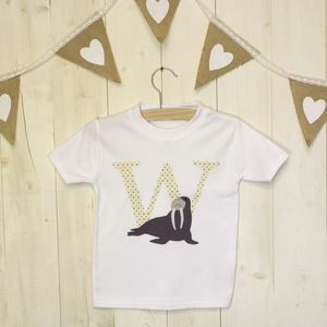 W Is For Walrus Applique Letter T Shirt