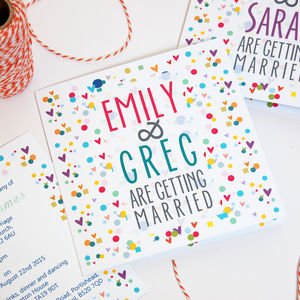 'Confetti' Contemporary Square Wedding Stationery - invitations