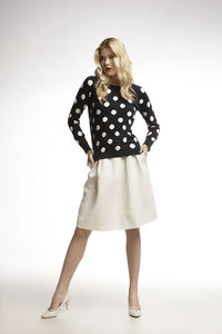Long Sleeve Intarsia Polka Dot Knitted Jumper - women's fashion