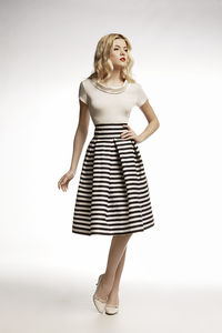 Amalfi Striped Midi Skirt - women's fashion