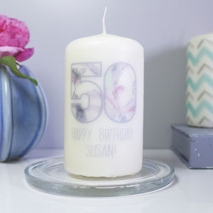Personalised '50' Birthday Number Candle