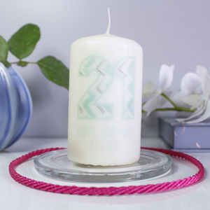 Personalised '21' Chevron Birthday Number Candle - occasional supplies