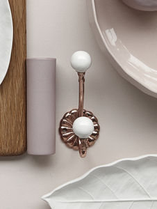 Ornate Copper And Ceramic Coat Hook - kitchen