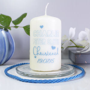 Personalised Christening Candle For Boys - occasional supplies
