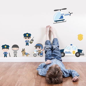 Police Scene Cops And Robbers Fabric Wall Stickers - home accessories