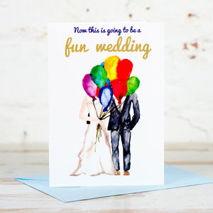 'Fun Wedding' Balloons Card