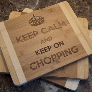 Personalised Bamboo Chopping Board Keep Calm… - kitchen