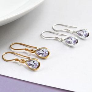 Silver Or Gold Amethyst Teardrop Earrings - earrings