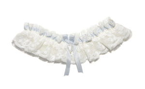Charis Ivory Floral Lace With Blue Wedding Garter - women's fashion