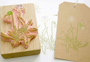 Botanical Pansy Hand Carved Rubber Stamp - stamps & ink pads