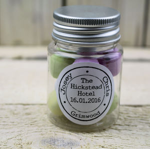 Personalised Wedding Stamp Favour Jar