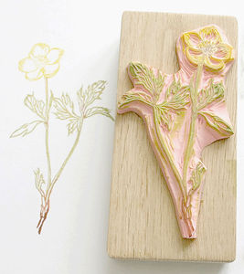 Botanical Buttercup Hand Carved Rubber Stamp - toys & games