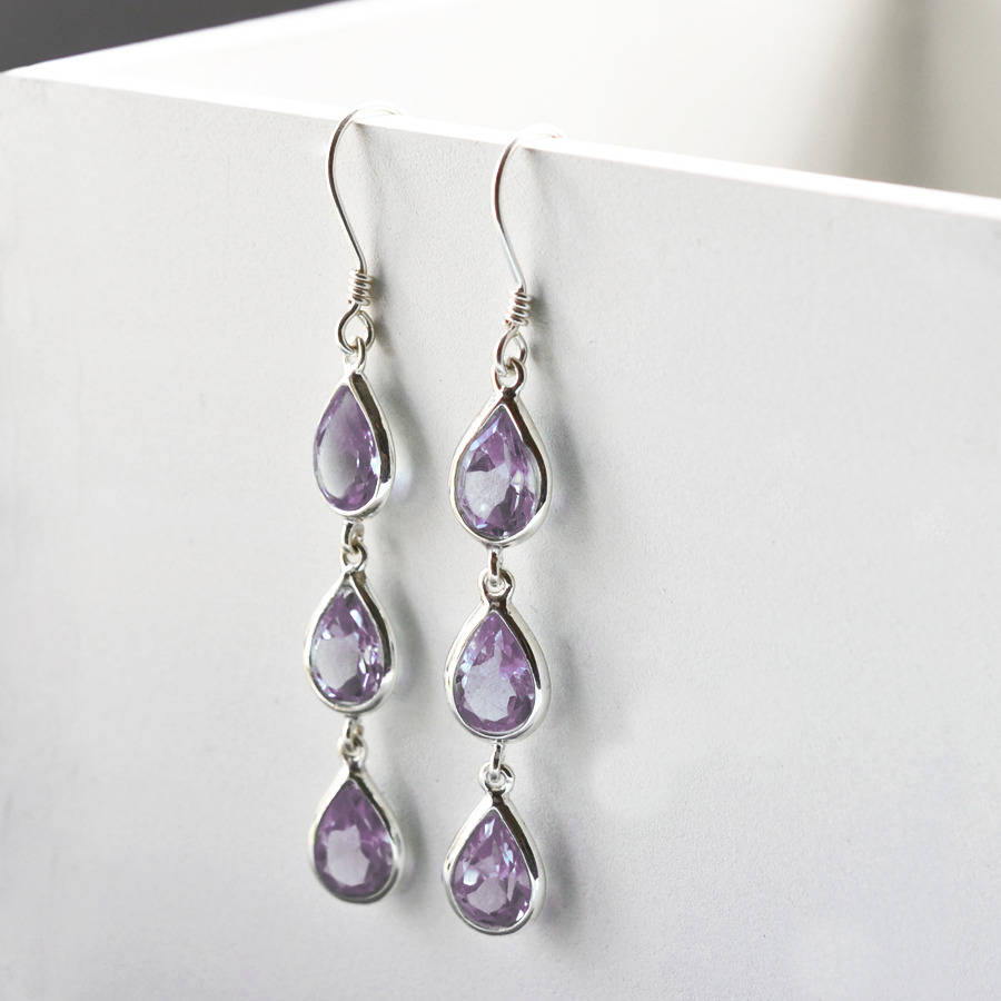Sterling Silver Triple Amethyst Teardrop Earrings By