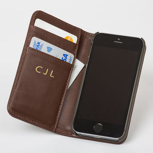 Personalised iPhone Case In Luxury Brown Leather - gifts for him