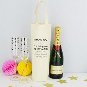 Personalised 'Bridesmaid' Bottle Bag - ribbon & wrap