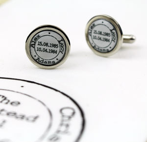Personalised Wedding Stamp Cufflink - cufflinks