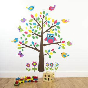 Owl And Birds Tree Scene Wall Sticker - office & study