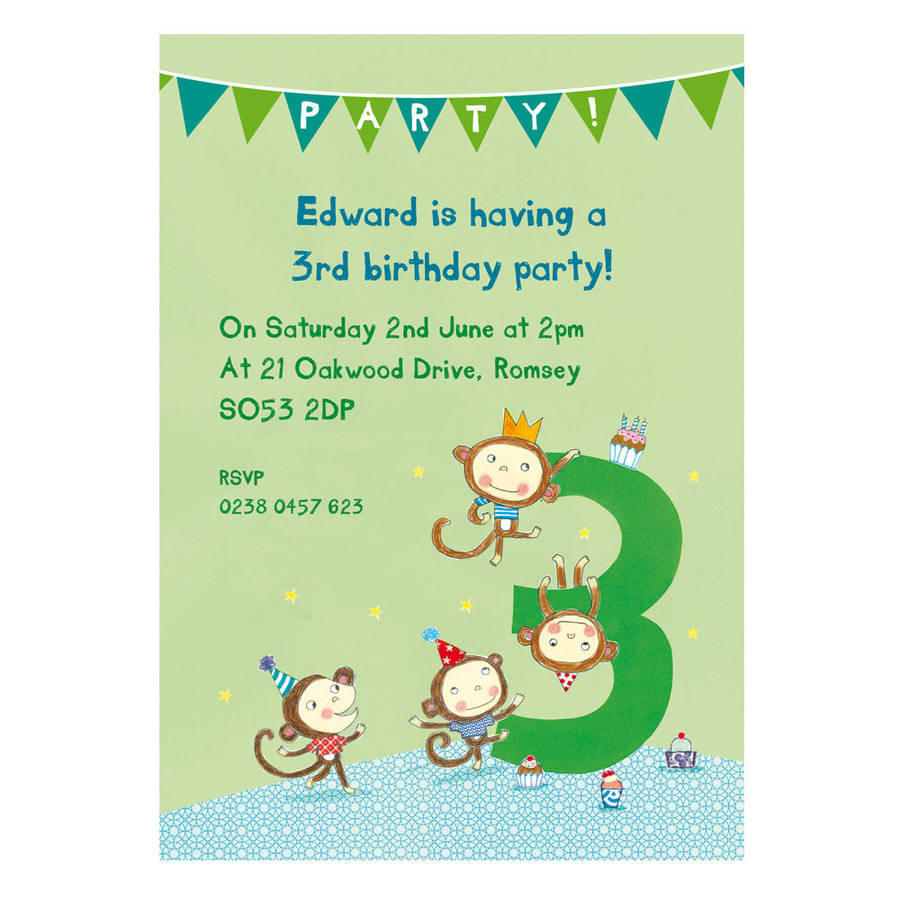 Personalised third birthday party invitations by made by ellis monkeys design filmwisefo