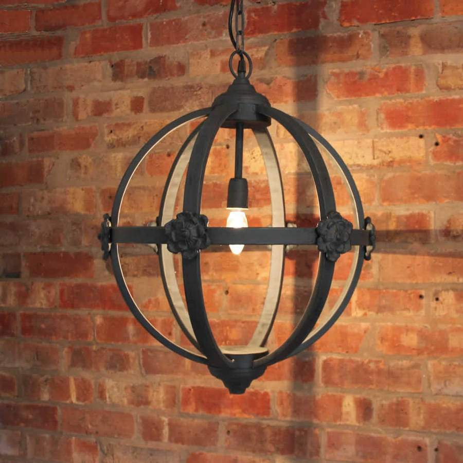 Large Round Metal Iron Orb Chandelier By Cowshed Interiors