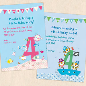 Personalised Fourth Birthday Party Invitations - children's parties