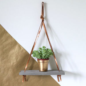 Concrete And Bronze Leather Hanging Shelf - on trend: concrete