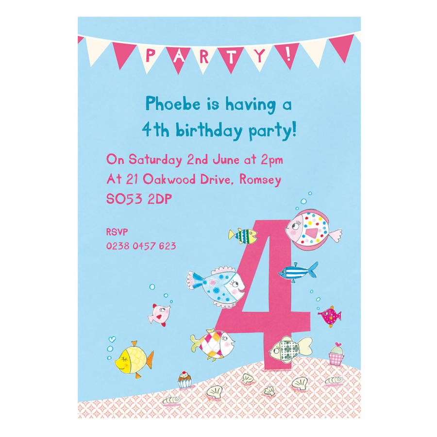 Personalised Fourth Birthday Party Invitations Fish Design