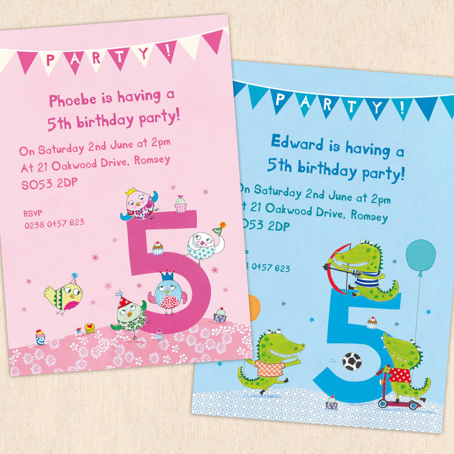 personalised fifth birthday party invitations by made by ellis – 5th Birthday Party Invitation