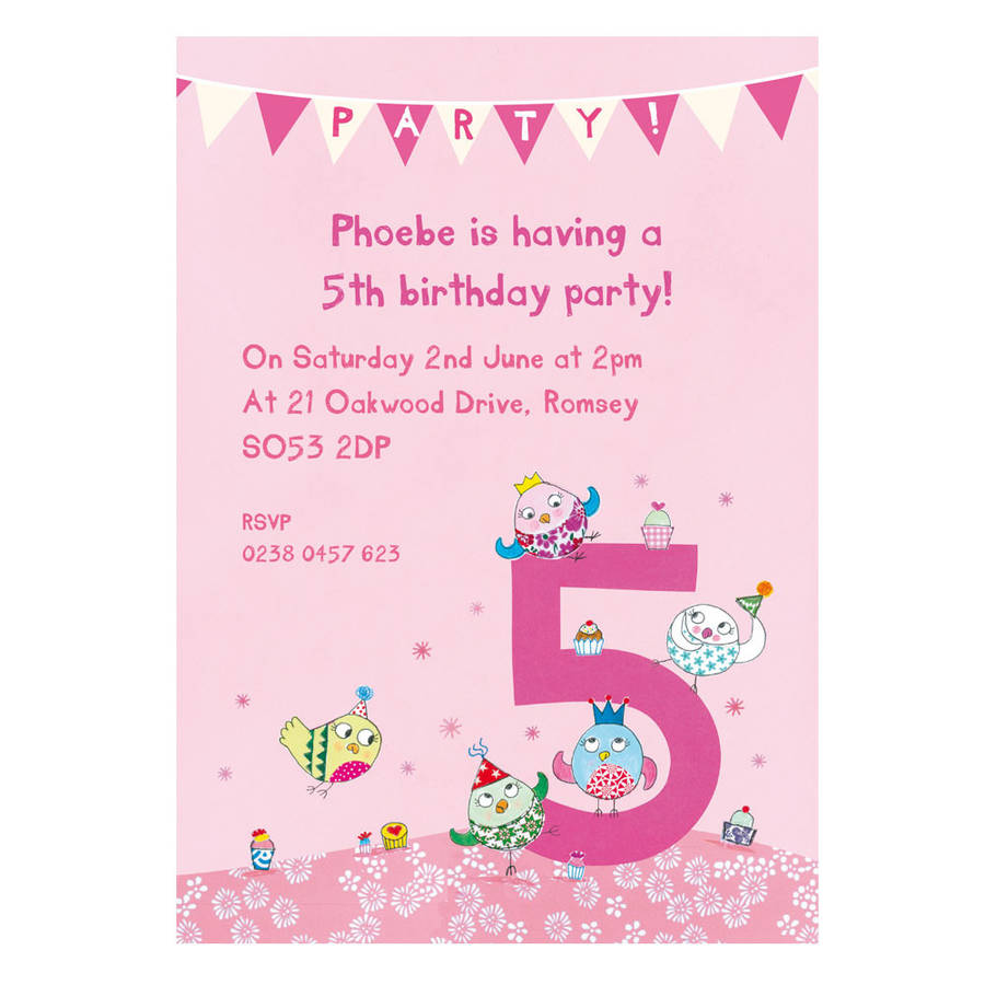 personalised fifth birthday party invitations by made by