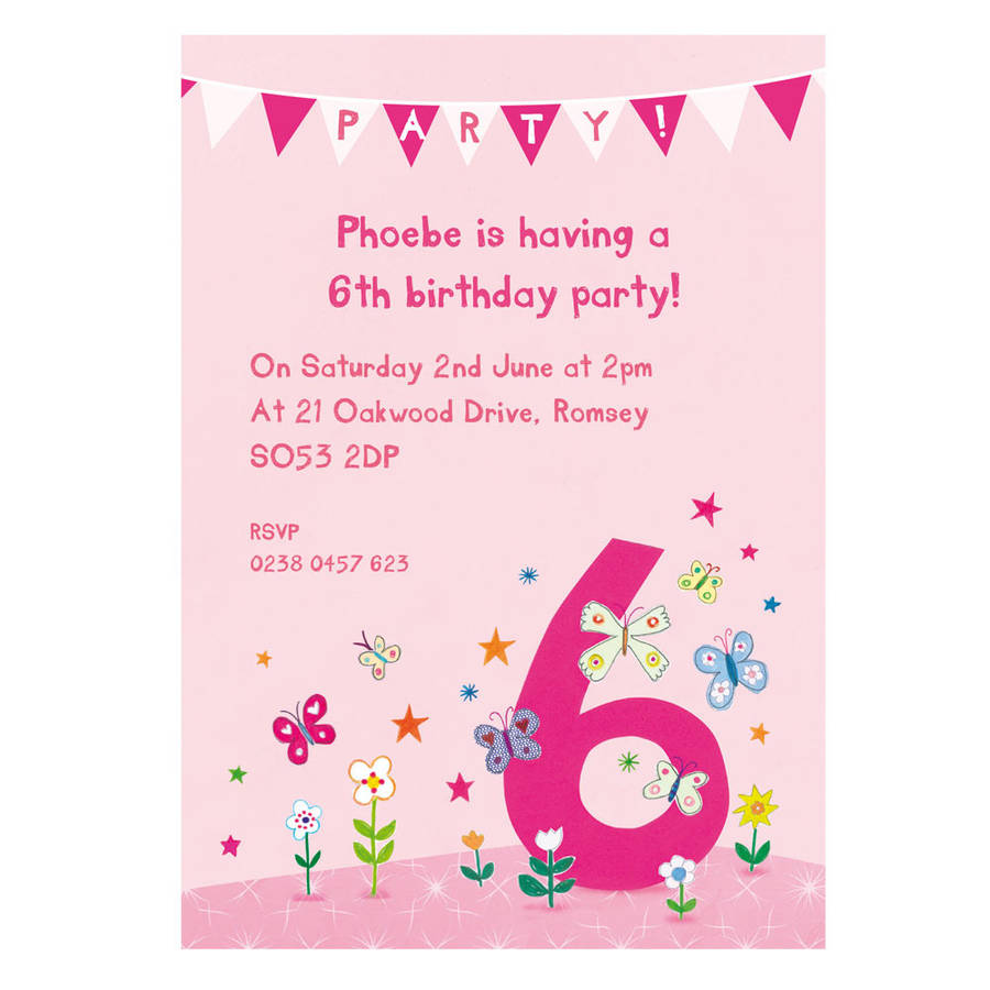 Personalised Sixth Birthday Party Invitations By Made Ellis