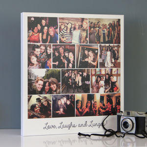 Personalised Vintage Polaroid Montage Canvas