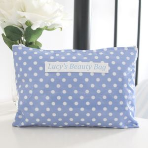 Personalised Polka Dot Cosmetic Bag - make-up & wash bags