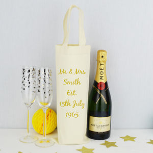 Personalised 'Golden' Wedding Anniversary Bottle Bag - by year