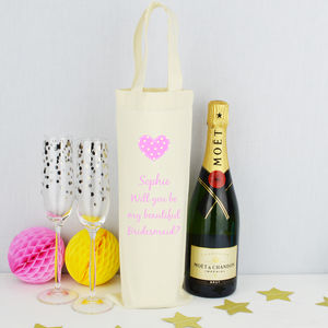 'Will You Be My Bridesmaid' Bottle Bag - ribbon & wrap