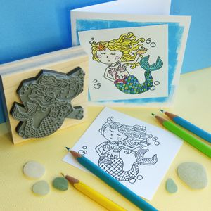 Colour Me In Mermaid Rubber Stamp