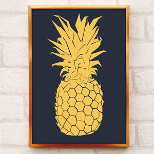 Gold Pineapple Print - posters & prints
